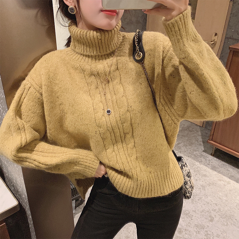 MISHOW Women Thick Sweater Solid Color Autumn Winter Female Warm Turtleneck Knitted Long Sleeve Pullovers MX19D5554