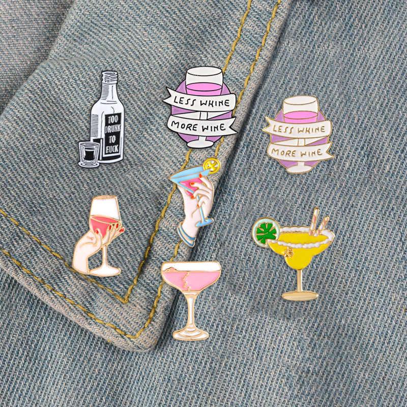 Botol Anggur Enamel Pin Tidak Akan Pulang Malam Ini Lencana Bros untuk Wanita Piala Koktail Kerah Pin Pakaian Tas Hadiah Perhiasan teman
