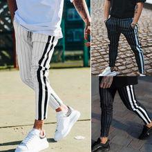 2019 Autumn Men Casual Striped Pants Slim Fit Tracksuit Spor