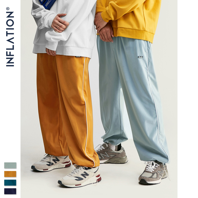 INFLATION 2020 FW Men Track Pants Loose Fit Overalls Solid Color Men Track Pants Streetwear Flannelette Fabric Men Pants 93381W 46