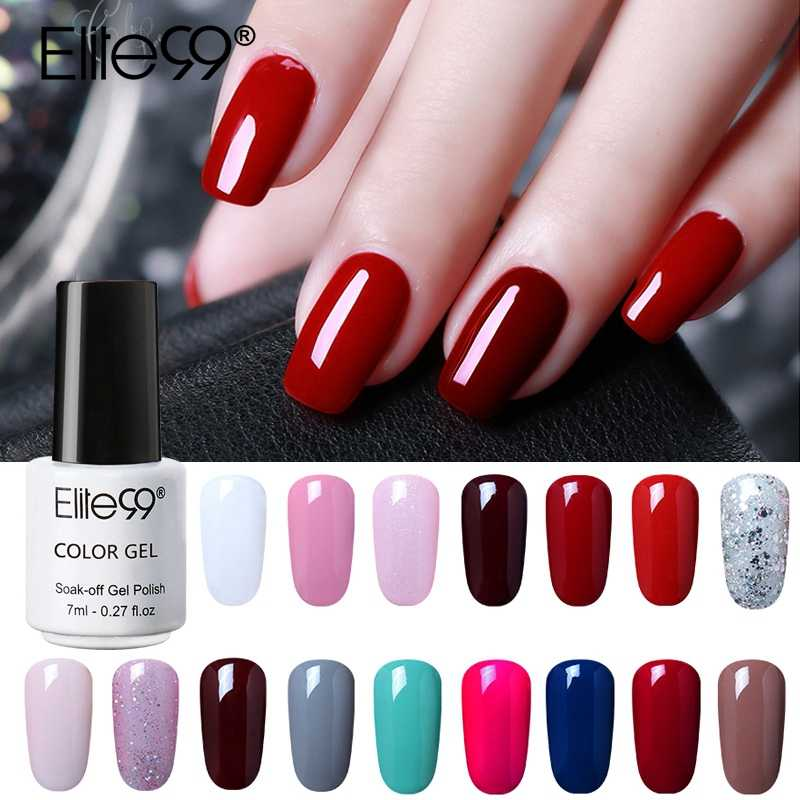 Elite99 7ml Puro Gel di Colore Nail Polish Top Coat Base Bisogno di Lunga Durata UV LED Gel Vernici Soak Off gelpolish Nail Lacquer