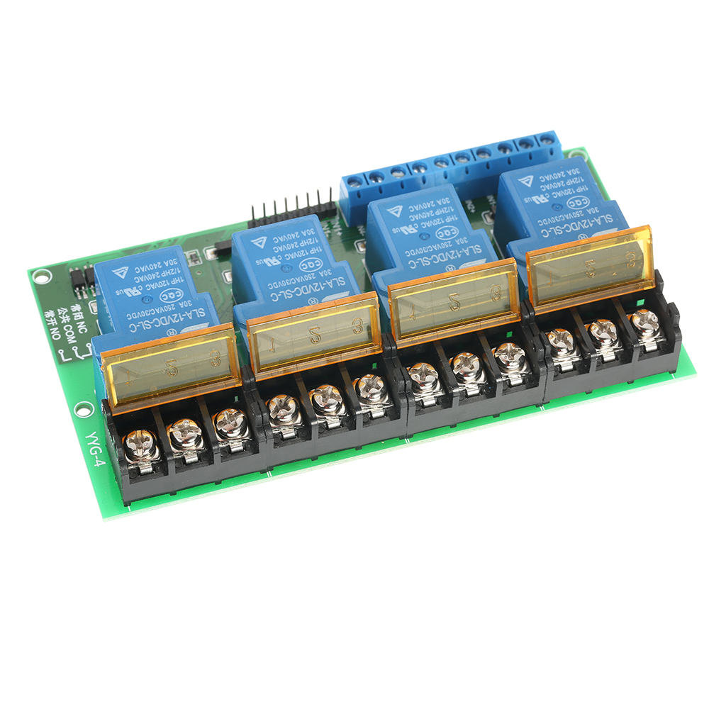 4-Channel DC 12V 30A Relay Module Control Board Optocoupler Isolation High/Low Trigger