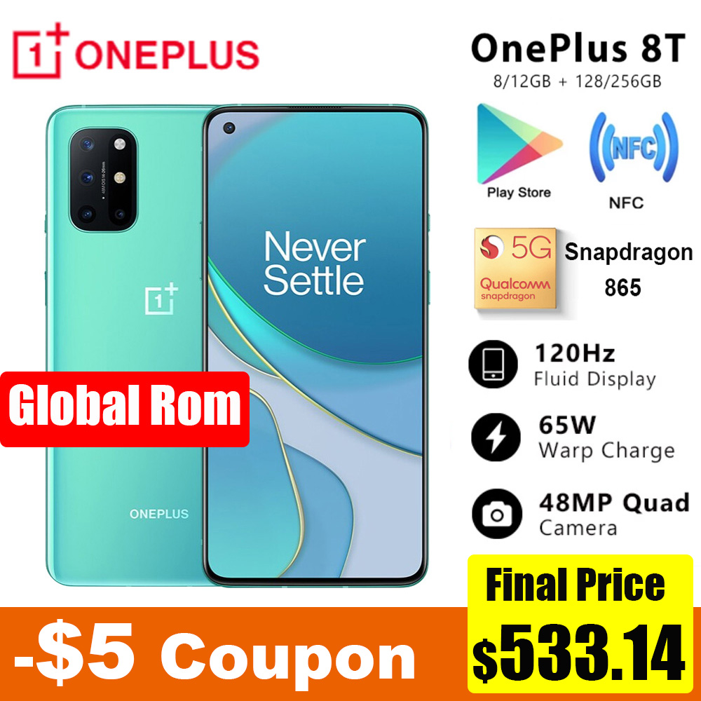 Original Oneplus 8T 8 T 5G SmartPhone 120Hz Fluid AMOLED Display Snapdragon 865 65W Warp Charge One plus 8T Mobile Phone
