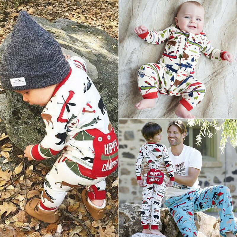 CANIS Newborn Baby Girls 2019 Autumn HAPPY CAMPER Long Sleeve O Neck Romper Jumpsuit Outfits Clothes Sets