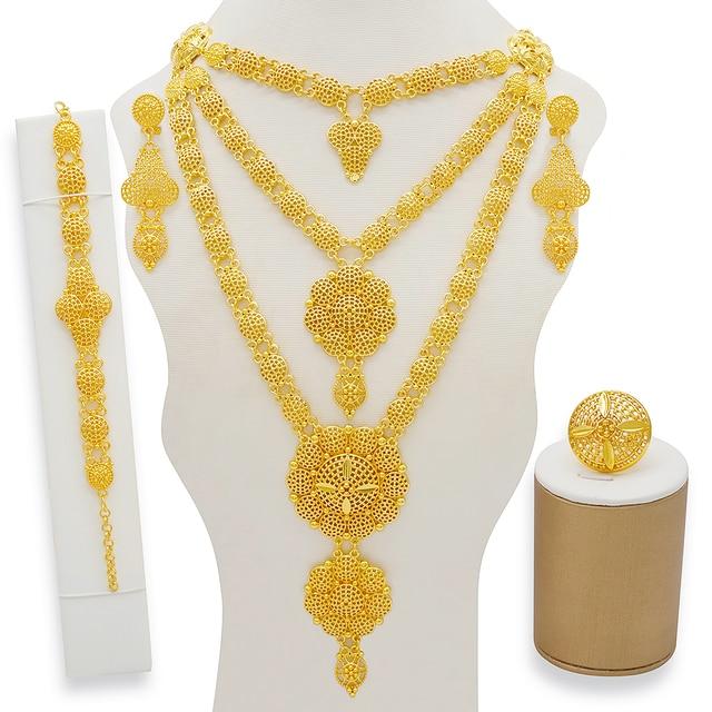 Dubai conjuntos de jóias colar de ouro & brinco conjunto para as mulheres africano frança festa de casamento 24k jóias etiópia presentes de noiva 1