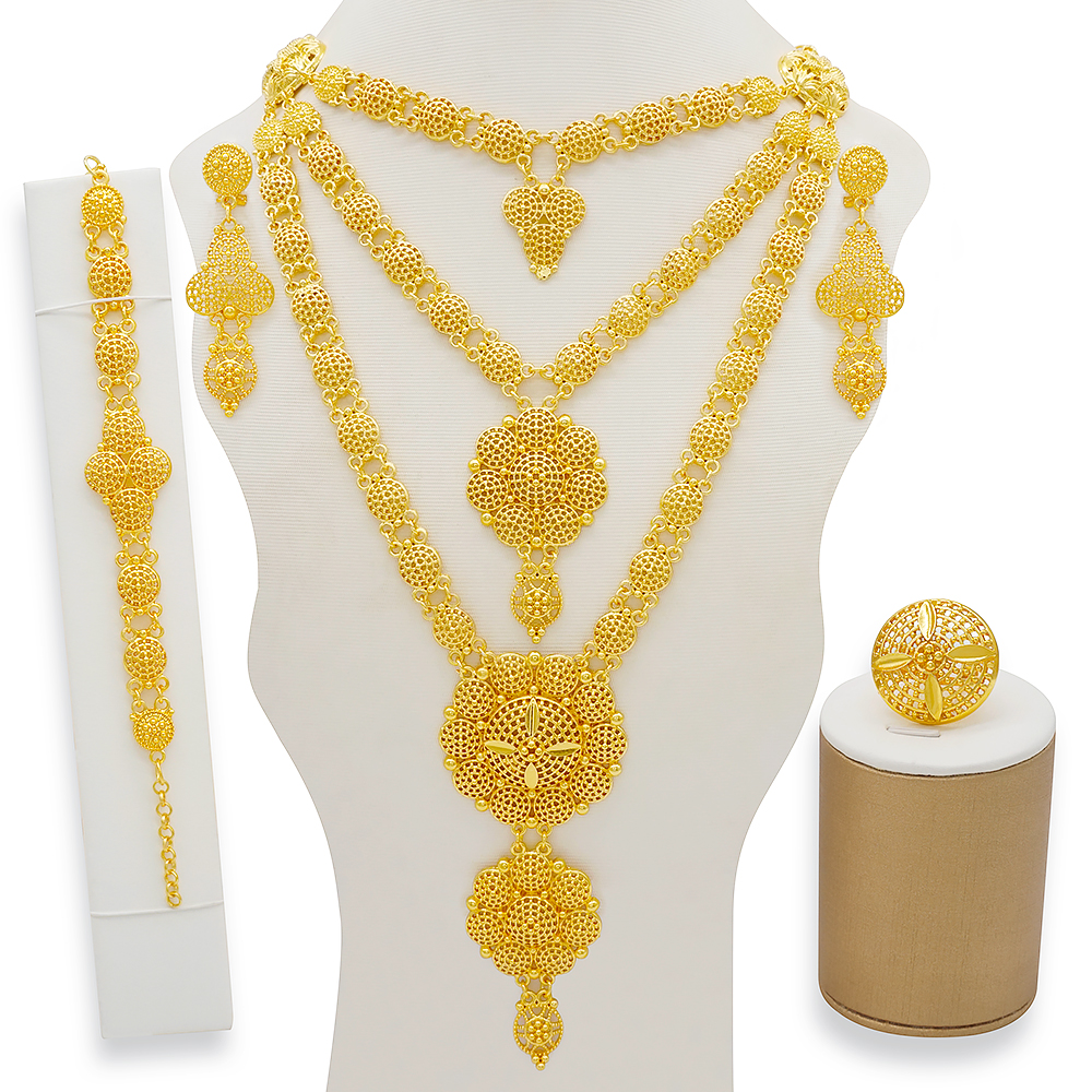 Dubai Jewelry Sets Gold Necklace & Earring Set For Women African France Wedding Party 24K Jewelery Ethiopia Bridal Gifts