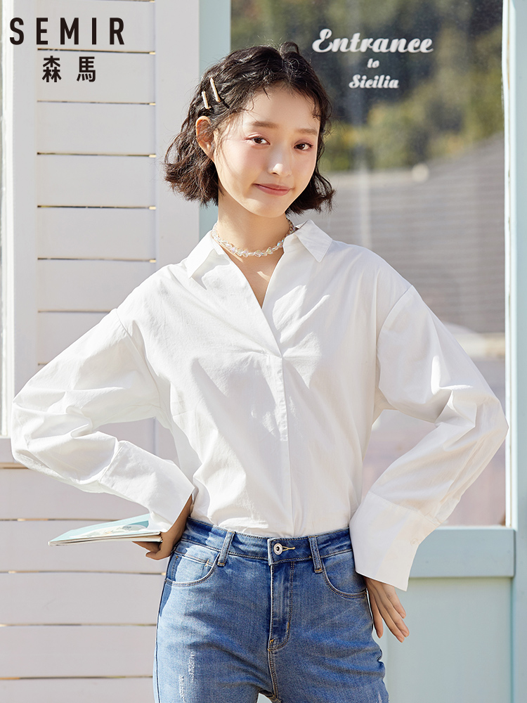 SEMIR 2020 Spring And Autumn New V-neck Long Sleeve Blouse Women Cotton Contrast Color Ribbon Inch Shirts