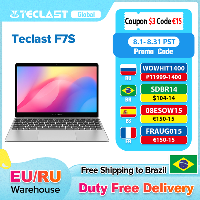 "Teclast F7S 14.1"" Laptop 1920x1080 IPS Notebook 8GB RAM 128GB ROM SSD Slot Windows 10 Intel Apollo Lake Dual Wifi Thin Computer 1"