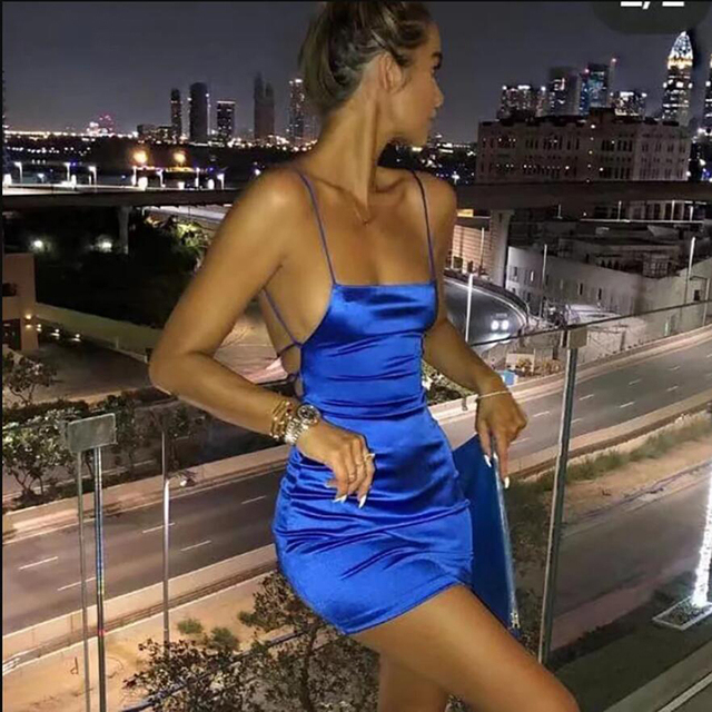 Spaghetti Strap Mini Satin Dress Women Sexy Backless Cross Bandage Bodycon Party Dress Pleated Stretch Short Club Dress 2