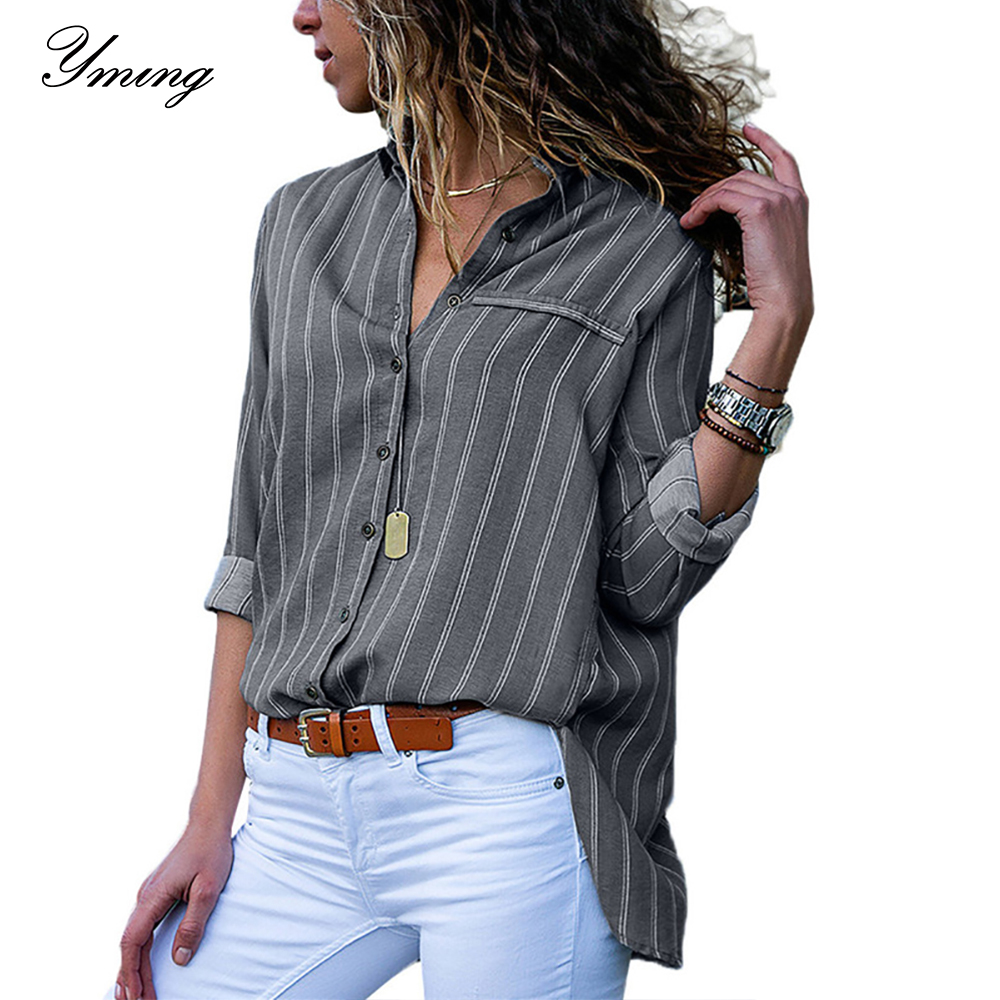 Yming Striped Print Boho Women Blouse Button Chiffon Tops Office Long Sleeve Blouse Shirt Casual Tunic Turn Down Collar Blusas