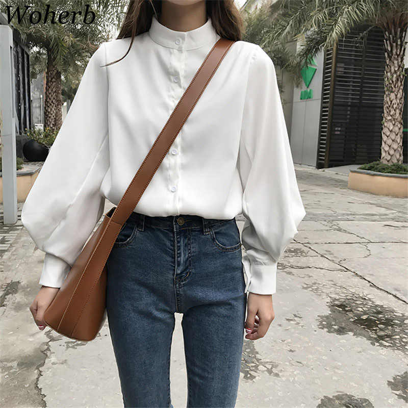 Woherb Womens Tops Blouses Vintage Long Sleeve Autumn Winter Thick Shirts Ladies Korean White Blusas Mujer De Moda 2019 Blouse