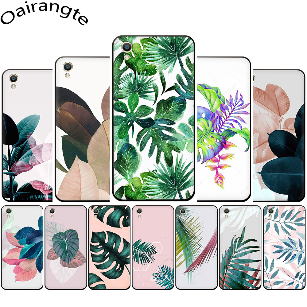 Tropical Plants Leaves Silicone phone <font><b>case</b></font> for <font><b>OPPO</b></font> R17 R15 F11 F9 Pro R11s A77 R11 R9s F9 <font><b>F7</b></font> A73 A83 A59 A39 A5 image