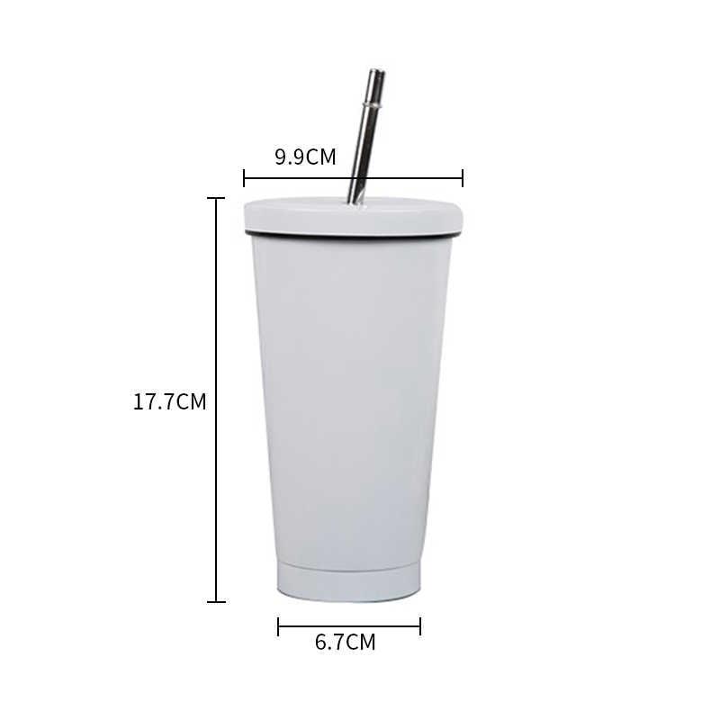 500ML ze stali nierdzewnej kubek do kawy izolowane kubek z pokrywką słomka do drinków kubek podróżny termos metalowy kubek kubek kufle do piwa kubek do herbaty
