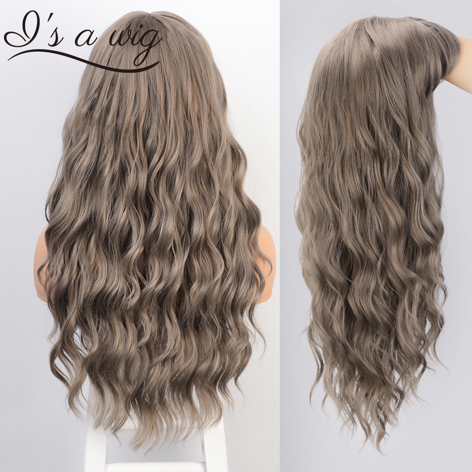 I's A Wig Synthetic Long Grey Wigs Water Wave Women Wig With Bangs Black Brown Pink Purple Cosplay Wigs Heat Resistant Hairs