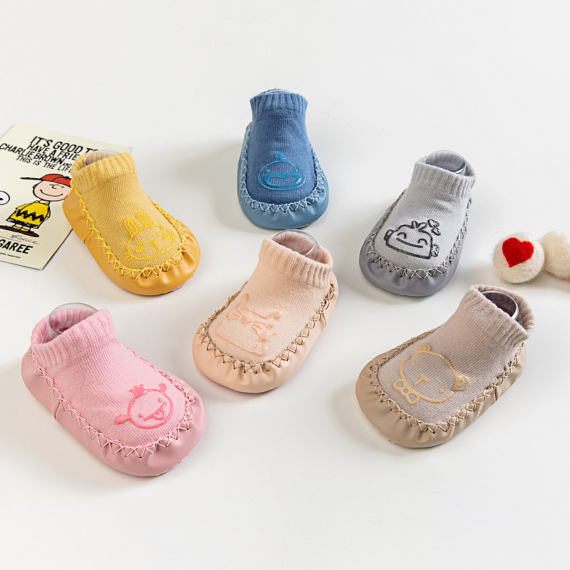 Newborn Baby Socks With Rubber Soles Infant Baby Girls Boys Autumn Winter Kids Floor Socks Shoes Anti Slip Soft Sole Sock
