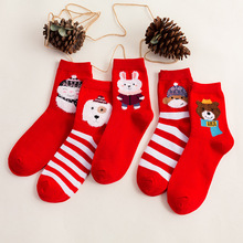 2019 New Autumn Winter High Quality Cute Christmas Socks Red Striped Snowman Animal Print Cotton Short
