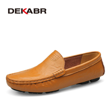DEKABR Big Size 36~50 High Quality Genuine Leather Men Shoes Soft Moccasins Loafers Fashion Brand Men Flats Comfy Driving Shoes cheap Cow Leather Rubber PD04108 Slip-On Fits true to size take your normal size Solid Breathable Waterproof Spring Autumn 2018