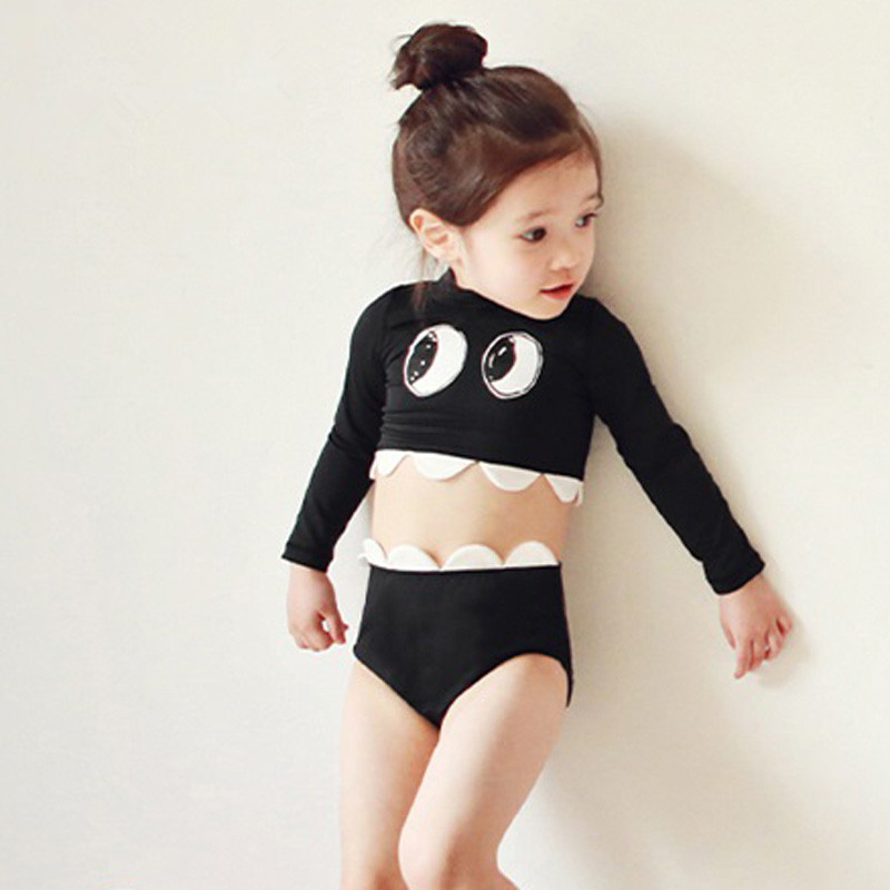 Playful With Big Eye Infants Baby Girls Bathing Suit Children Long Sleeve Sun-resistant Split Type High-Waist Pants Girls Hot Sp