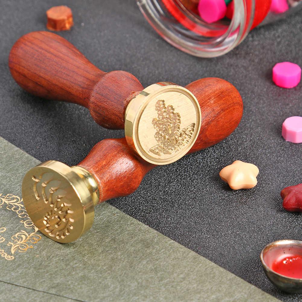 Retro ประทับตราประทับตราเทียนดอกไม้โพสต์ตกแต่งไม้โบราณ Seal แสตมป์วันเกิดงานแต่งงานเชิญแสตมป์ของขวัญ