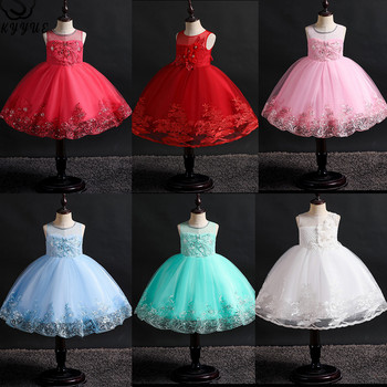 Skyyue Flower Girl Dresses for Wedding Sleeveless Appliques Crystal  Ball Gown White Kid's Party Communion Dress O-Neck 2019 561 new cute sleeveless criss cross back backless puffy tiered scoop neck white ball gown flower girl dress for wedding kid gown
