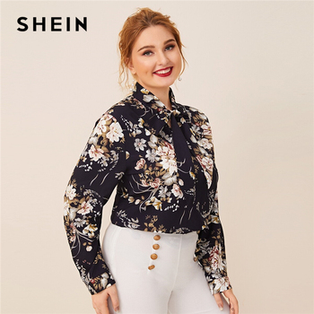 SHEIN Plus Size Navy Tie Neck Botanical Print Top Women Autumn Solid Elegant Office Lady Womens Plus Tops and Blouses