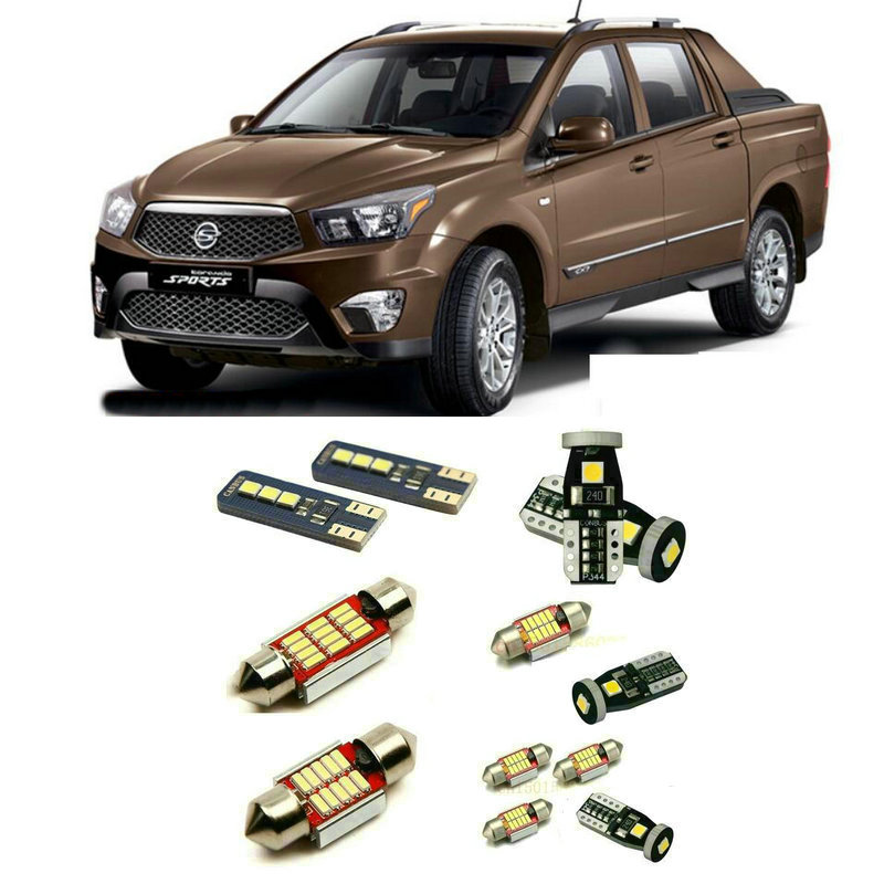 Led interior lights For SSANGYONG korando sports 10pc Led Lights For Cars lighting kit automotive bulbs Canbus image