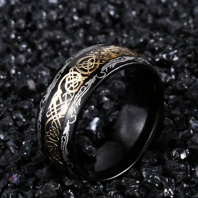 2020 New Arrive Fashion 316L Stainless Steel Golden Dragon Man's Ring Blu-ray Simple Fashion High Quality Jewelry 3