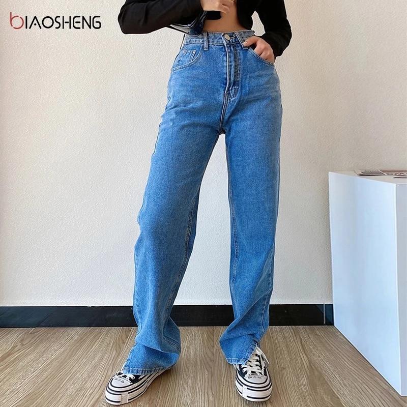 Pantaloni da donna Jeans a gamba dritta pantaloni a vita alta da donna Slim allentati autunno inverno pantaloni Casual alla moda con stampa a spacco 1