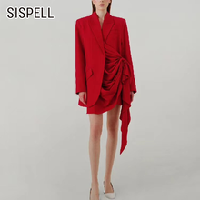 Sispell asymmetric ruched woemn's blazer coat patchwork