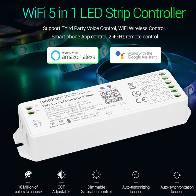 Miboxer WL5 2.4G 15A 5 IN 1 WIFI LED Controller สำหรับเดี่ยวสี,CCT,RGB, RGBW RGB + CCT LED Strip,สนับสนุน Amazon Alexa Voice