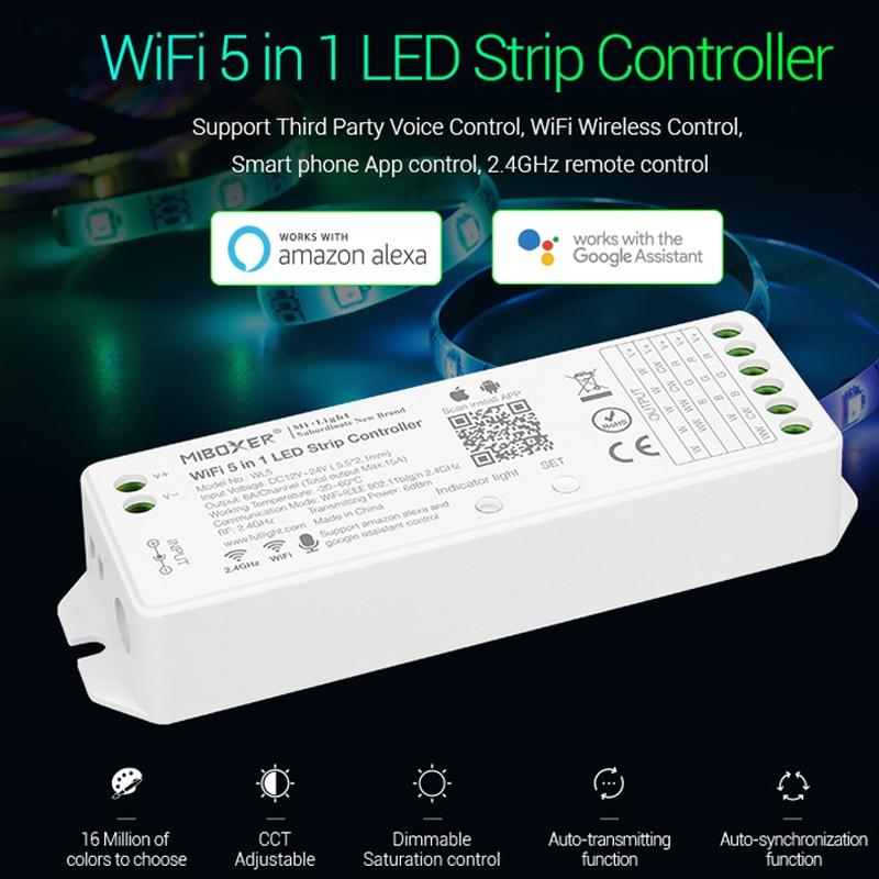 Miboxer wl5 2.4g 15a 5 em 1 controlador do diodo emissor de luz de wifi para a única cor, cct, rgb, rgbw, rgb + cct tira conduzida, apoio amazon alexa voz
