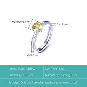 Image 2 - JRSIAL 925 סטרלינג תכשיטי כסף טבעת קוריאנית אופנה קטן טרי אישה טבעת קלאסי סיטרין Resizable טבעת