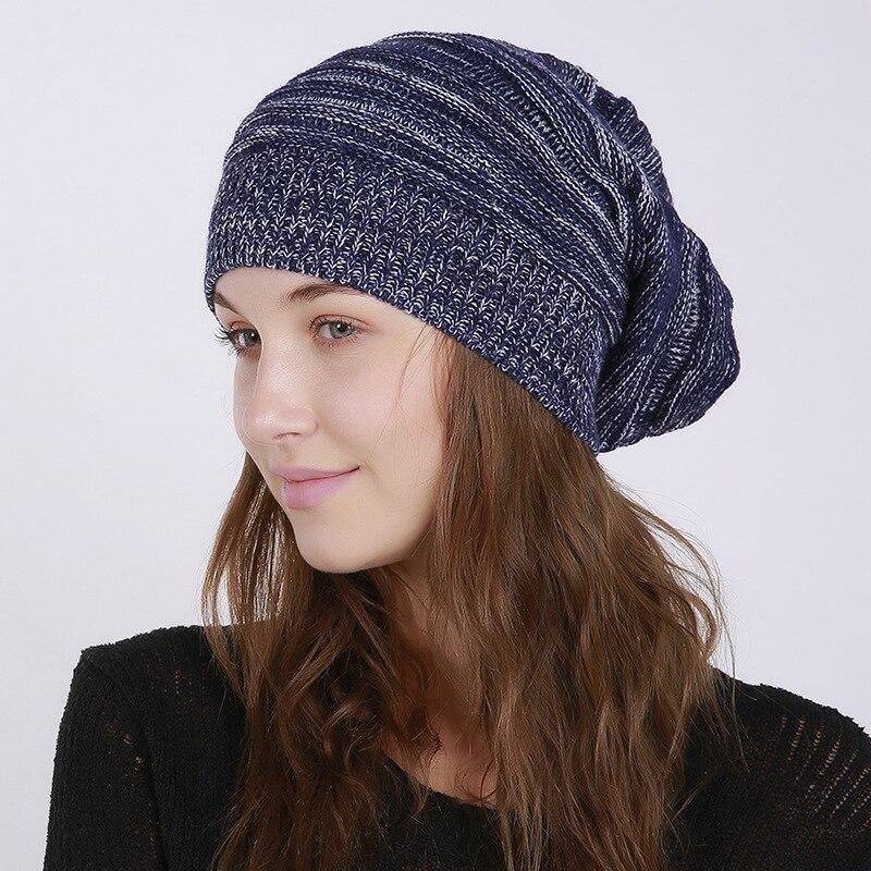 Women's Cap Knitted Beanies Hat Gorro Thick Women'S Skullies Outdoor Female Casual Ski Winter Warm Femme Bonnet Skullcap