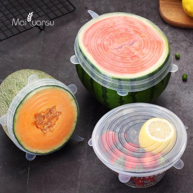 Maiyuansu 6 unids/set tapa de silicona para alimentos tapas de silicona universales para utensilios de cocina Bol reutilizable tapas para cocina Accesorios 5