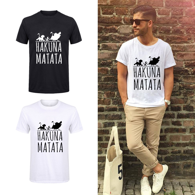 Showtly <font><b>Lion</b></font> <font><b>King</b></font> <font><b>Hakuna</b></font> <font><b>Matata</b></font> Tshirt man Plus Size Ulzzang Tumblr T-shirt Casual Streetwear White and Black Tee Tops image