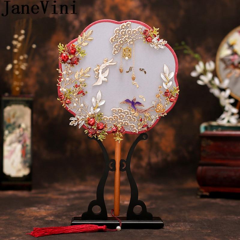 JaneVini Style chinois ventilateur de mariée polygone perles perlées mariée porte-main à la main en métal feuilles Fans accessoires de bijoux de mariage