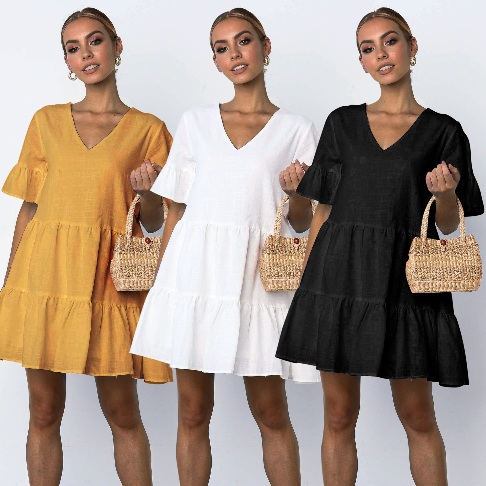 2019 Summer Beachwear Deep V Necek Short Sleeve White Ruffled A-line Mini Dress Women Dress Sexy Dress