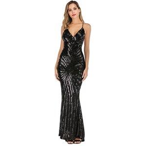 Image 4 - YIDINGZS robe De soirée style sirène, bretelles, en paillettes dorées, Sexy, robe longue De bal, YD19009