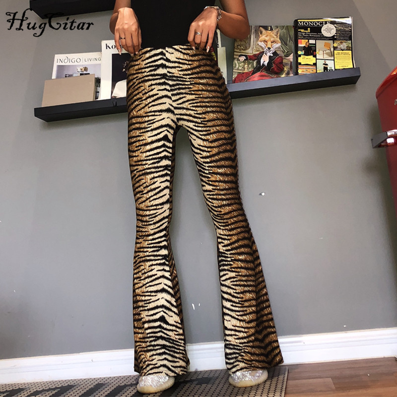 Hugcitar high waist leopard print flare leggings 2020 autumn winter women fashion sexy bodycon trousers club pants 5