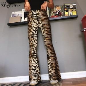Image 5 - Леггинсы клеш Hugcitar с леопардовым принтом и высокой талией, Осень зима 2020, женские модные сексуальные облегающие брюки, Клубные брюки