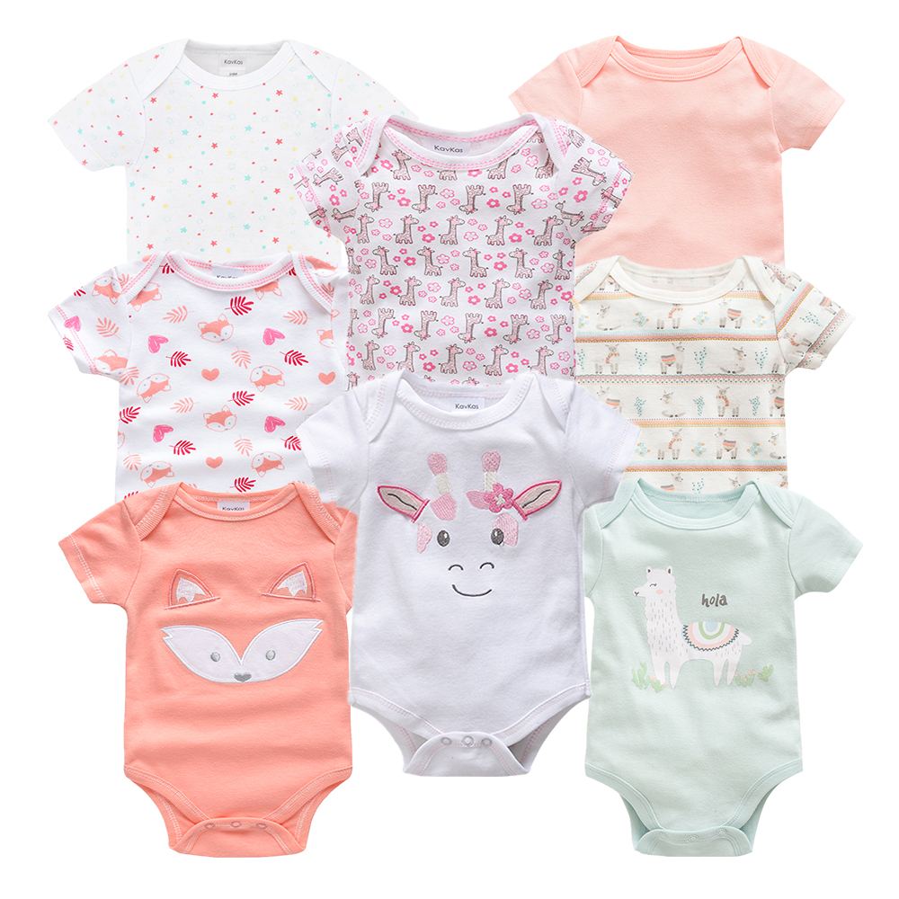 8pcs Newborn Baby Bodysuit Cute Cotton Baby Girl Clothes Twins Baby Girl Onesie Body Infantil Ropa Bebe Cartoon Toddler Jumpsuit