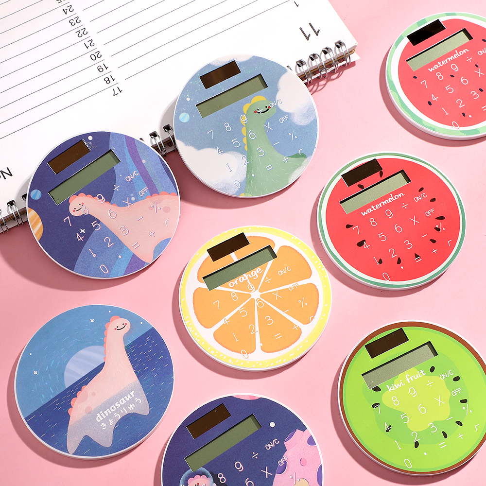 JIANWU Cute Cartoon 8-digit Calculator Circular Mini Portable Calculator School Supplies Kawaii
