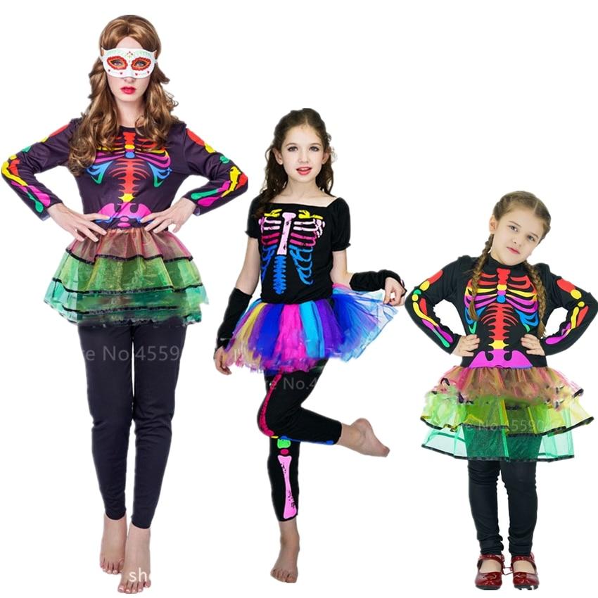 Tights Girls Fancy Dress Halloween Skeleton Childrens Kids Costume Sugar Skull