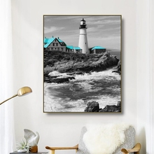 Canvas Art Painting Lighthouse Reef Ocean waves Poster Picture Wall Decor Colorful Modern Home Decoration For Living room Cafe