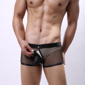 Sexy Male Underwear Men Boxer Shorts Mesh Net Open Butt Front Boxers Penis Pouch Underpants Boxershorts Sleepwear Panties - discount item  17% OFF Men's Underwears