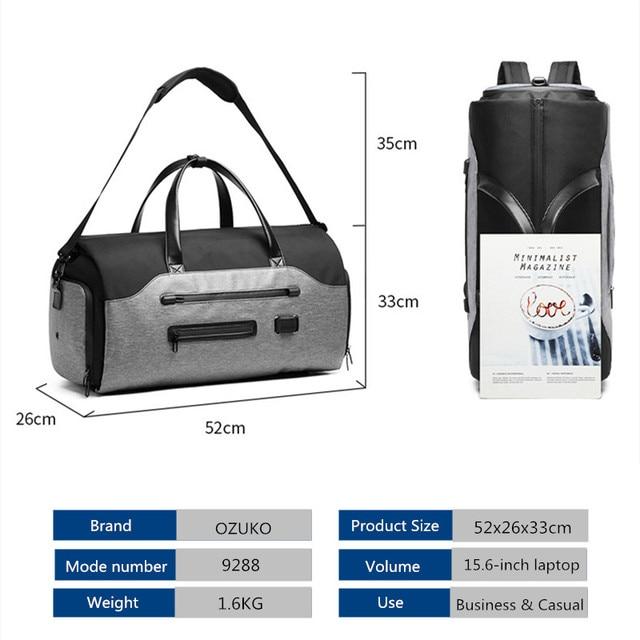 OZUKO Travel Bag Multifunction Men Suit Storage Large Capacity Luggage Handbag Male Waterproof Travel Duffel Bag Shoes Pocket 6