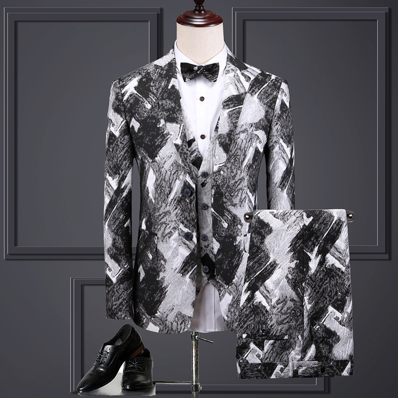 ( Jacket + Vest + Pants ) Luxury High-end Velveteen Brand Off-white Groom Wedding Dress Mens Suit 3 Pcs Set Male Business Suit