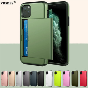Armor Slide Card Case For iPhone 11 12 Pro Max SE 2 2020 5 5S Card Slots Holder Cover For iPhone XS MAX XR X 8 7 6 6S Plus Funda(China)