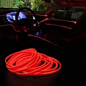 Image 5 - Tiras de luces LED frías para coche, 5m, 12V, Lámpara decorativa Flexible, decoración Interior de alambre de neón