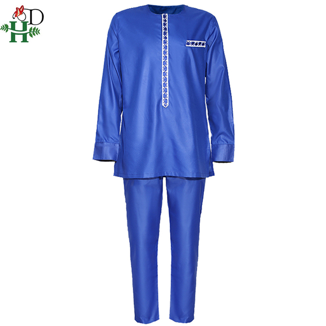 H&D Men's Dashiki Shirt Pants Suit Plus Size Men African Clothes Long Sleeve Top With Trouser Set 2PC Outfit Embroidery Attire 2